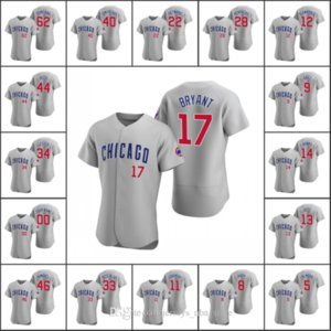 ChicagoCubs Men #9 Javier Baez 17 Kris Bryant 44 Anthony Rizzo 14 Ernie Banks Custom Women Youth Gray Authentic 2020 Road Jersey