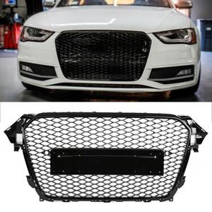 Для RS4 Стиль Front Спорт Hex Mesh Honeycomb Hood Grill Gloss Black для Audi A4 / S4 B8.5 2013 2014 2015 2016 аксессуары