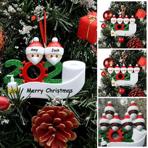 2020 Christmas Decorations Halloween Birthdays Party Personalized Ornament Gift White Black Family of 2 Santa Claus Christmas Tree Hanging