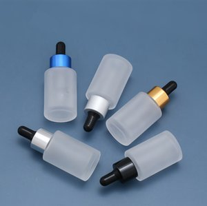 2020 new 100pcs 30ml Ground Transparent Frosted Glass Essential oil Bottle Essence of black Dropper bottle