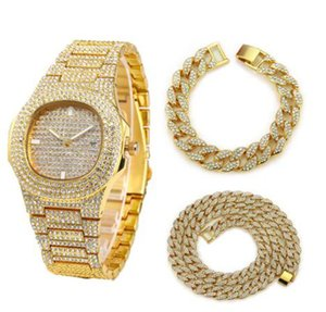 Necklace+Watch+Bracelet Hip Hop Miami Curb Cuban Chain Gold Silver Iced Out Paved Rhinestones CZ Bling Rapper Jewelry For Men