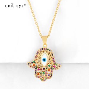 Anhänger Halsketten Evil Eye Shell Fatima Hand Halskette Gold Farbe Lange Kette Bunte Zirkon Modeschmuck Für Frauen Mädchen Le502