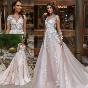 New Arrival Blush Pink Lace Cheap Plus Size Wedding Dresses Long Illusion Sleeves Sheer V Neck Pleats Wedding Dress Bridal Gowns Vestidos