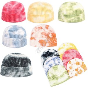 Tie Dye Gorros de punto acanalado cráneo Caps Hip Hop Tuque Sombreros Moda Abofeteado Beanie color del gradiente de deportes al aire libre de esquí de ganchillo Headwear D9803