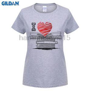 100% хлопок O-образным вырезом печатных футболки I Love Книги Футболка Читателям писателей библиотекарей для мужчин