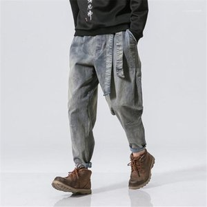 Mens Designer Jeans Fashion Vintage Washed Loose Pants Teenagers Streetwear Elastic Waist Ribbon Trousers Hip Hop