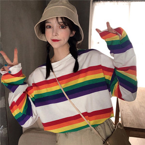 Autumn new loose rainbow striped long-sleeved casual round neck T-shirt