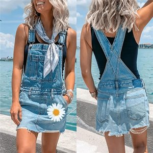 Women Straps Skirt Denim Overall Pocket Romper Slim Fit Jean Skirts Siamese Femme Summer Overalls Daisy Printed Femme