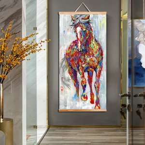 Paintings For Oil Living Room Larger Wangart Frame Wall Running Art Painting Horse Wooden Picture Wall Scroll Original bdetoys ZNKEW