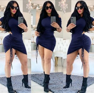 Skiny Bodycon Dresses Fashion Female Clothing Womens Bandage Dresses Sexy Crew Neck Solid Color Womens