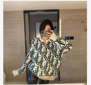 El otoño y el invierno de la moda alfabeto jacquard punto de mujer, el arte retro nueva chaqueta de punto suelta la capa del suéter