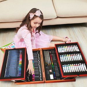174pcs Drawing set Double wooden frame Luxury Exquisite packaging watercolor brush paint marker pen painting art school supplies