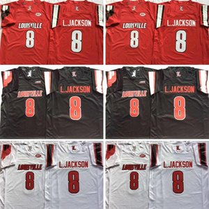 Accepter Mix hommes pas cher Jersey Commander Louisville Cardinal Cousu 8 Lamar Jackson 5 Bridgewater Noir Blanc Rouge Cousu Broderie Maillots