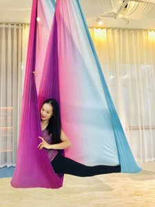 5m Multicolor Aerial Anti-gravity Yoga Hammock Swing Flying Yoga Bed Bodybuilding Gym Fitness Equipment Inversion Trapeze