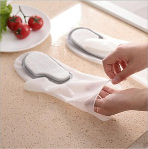 Silicone The Dishes Dishwashing Gloves Cloth Kitchen Cleaning Cloth Magic Brush Oil-free Water-proof Scouring Pad Household Cleaning HA1285