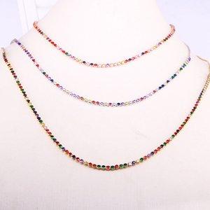 colar de cor 6PCS Mix com colar ajustável colorido cadeia de zircônia charme cadeia de tênis CZ do arco-íris