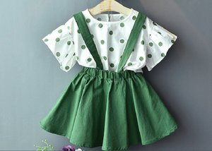 girls 2pcs set dress suits baby girls trumpet sleeve polka dot top and short skirt with straps kids summer clothing sets
