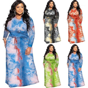 O manches longues Automne Vêtements pour femmes à taille haute pour femmes Robes simples Plus Size Womens Designer Robes Tie Dye Shrink taille