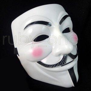 V Branco Máscara Masquerade Máscara Máscaras Eyeliner Halloween rosto cheio Partido Props Vendetta Anonymous Filme Guy Máscaras RRA3557