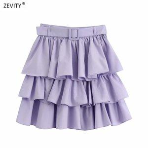 Zevity Yeni Kadın düz renk basamaklı farbalı kanatlar kek etek mujer bayanlar Faldas yan fermuar vestidos şık mini etek QUN635