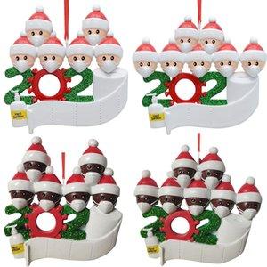 De calidad superior 2020 regalo de la decoración del partido de cuarentena Cumpleaños Navidad Producto Familia personalizada de 4 ornamento de la pandemia de distanciamiento social