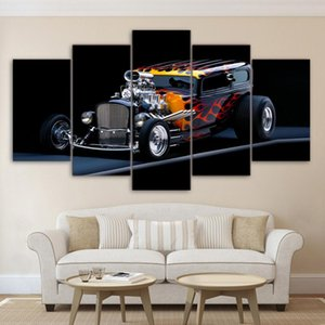 Modern Home Decor Poster Modular Oil Painting 5 Pieces HD Printed Hot Rod Sports Car Canvas Wall Art Pictures Framework PENGDA