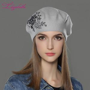 LILIYABAIHE Nouveau femmes hiver laine Chapeau tricoté Bérets Cap fleur Paillettes décoration diamant couleurs unies chapeau de dame de mode