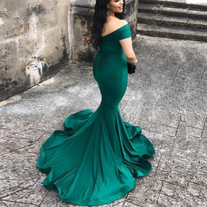 Elegant Emerald Green Mermaid Prom Dresses Court Train Off The Shoulder V neck Simple Plain Party Gowns Evening Dress