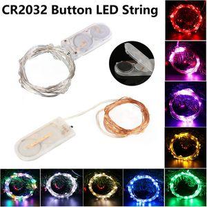 2M 20LEDs светодиодные лампы Строка CR2032 Кнопка батарейках светодиодные фонари Mini Copper Wire Light рождественские украшения Halloween Party Wedding