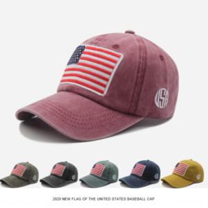 JYCpW Primavera e baseball em bico capAutumn algodão novo boné de beisebol lavado bandeira americana bordada boné de pala de protecção solar