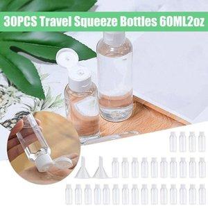 30PCS portátil recorrido de la botella de plástico Botellas Exprimido 60ML para el viaje Sub botella de champú cosmético Loción recipiente con embudos