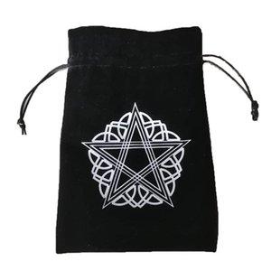 Таро 13x18cm хранения бархата Организатор карты сумка Pentagram сумки Защитные Настольные Drawstring чесать Вышивка Толстые gCBdK