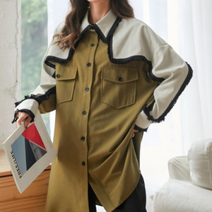 LANMREM 2020 autumn tops single-breasted vintage color block patchwork new square collar loose slimming mid-length shirt 2A258