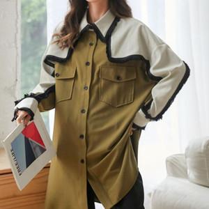 LANMREM 2020 autunno supera la camicia color block rappezzatura nuova piazza collare allentato dimagrimento di media lunghezza monopetto 2A258