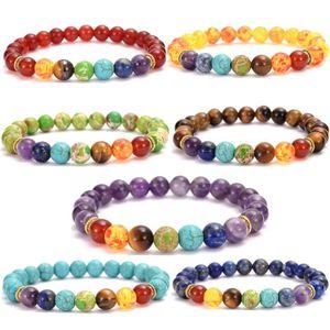 Sete Chakra Pedras Strand estiramento Mulheres Pulseiras Reiki equilibrar a proteção Yoga Jewelry