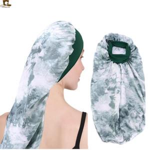 Extra longo de cetim Bonnet por Mulheres Noite Dormir Cap para o cabelo longo Tranças, Rastafari Curly cabelo- macio elástico