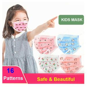 DHL Livraison gratuite 16 motifs enfants 3 plis 3ply masque coloré enfants enfants enfants masque visage avec soupape