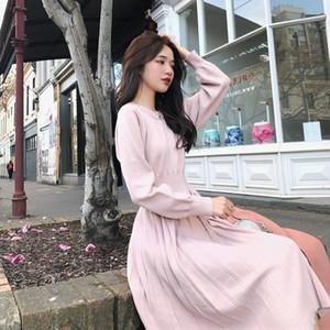 Ama1g estilo am0ie celebridade New coreano 2.019 de comprimento médio temperamento vestido de assentamento malhas das mulheres de malha de fecho da cintura Internet Fall / Winte