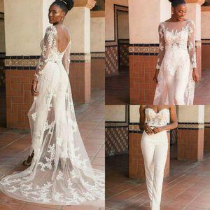 New Arrival 3 Pcs Jumpsuit 2021 Backless Wedding Dresses with Long Sleeve Cloak Lace Appliqued Bridal Gowns vestido de novia