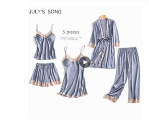 5 Pieces Pajamas Set Sexy Lace Satin Silk Sleepwear Women Summer Spring Fashion Pajamas for Women Robe Sleep Lounge