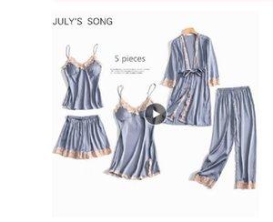 5 Parça Pijama Set Seksi Dantel Saten İpek Pijama Kadınlar Yaz Bahar Moda Pijama Kadınlar Için Robe Sleep Lounge Olxququ