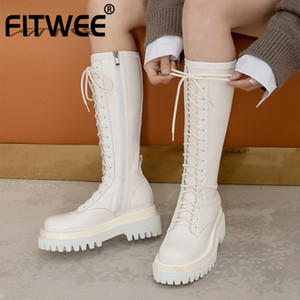FITWEE Real Leather Woman Knee Boots Fashion Platform Cross Strap Warm Winter Shoes Woman Thick Heel Short Boot Size 34-40