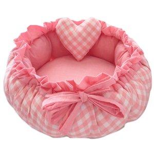 Princesa Estilo Sweety Dog Pet Bed Cat Bed Casa Almofada Kennel Pens Sofá com descanso Quente Sleeping Bag-Malha-M