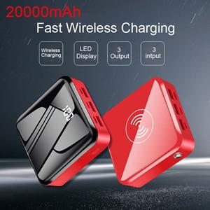 20000 MAH 치 무선 전원 은행 휴대용 충전기 미니 PoverBank 미러 화면 외부 배터리 portatil 팩 스마트 폰