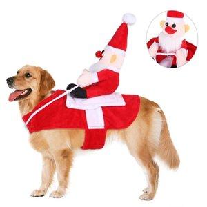 Cosplay Partido de Navidad Riding mascotas perros Invierno Navidad Ropa De Santa Caballo