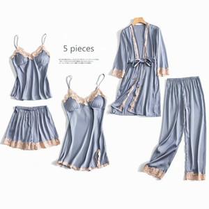 5 Parça Pijama Set Seksi Dantel Saten İpek Pijama Kadınlar Yaz Bahar Moda Pijama Kadınlar için Robe Sleep Lounge TOQHB