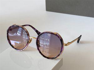 Moda óculos redondo roxo tartaruga óculos de armação des lunettes de soleil Mulheres Sunglasses Shades com Box
