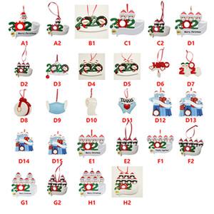 Resina de cuarentena adornos de navidad 2020 Bendiciones de bricolaje Nombre con máscaras familia del muñeco de ornamentos de navidad Decoración IIA667