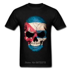 Кубинский флаг черепа T-Shirt Men Новизна Design Страна Flag Tshirt Ahegao Pitbull Printed Череп Футболка Череп Tshirt Хлопок Тис