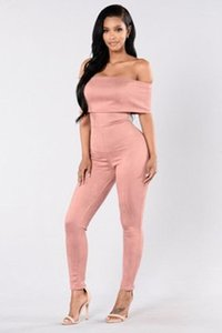 Weibliche dünne Elastizität mit hoher Taille Hosen-Spielanzug Frauen ein Schulter-Spielanzug Fashion Solid Color Short Sleeve Sexy Jumpsuits Designer